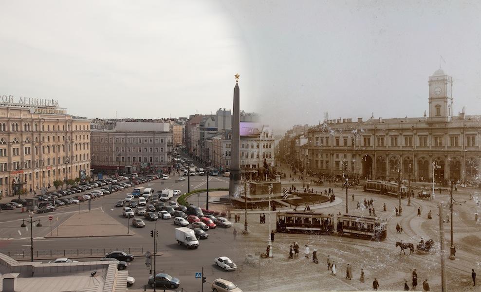 Знаменская площадь (с 1918 — Восстания). Николаевский (Московский) железнодорожный вокзал